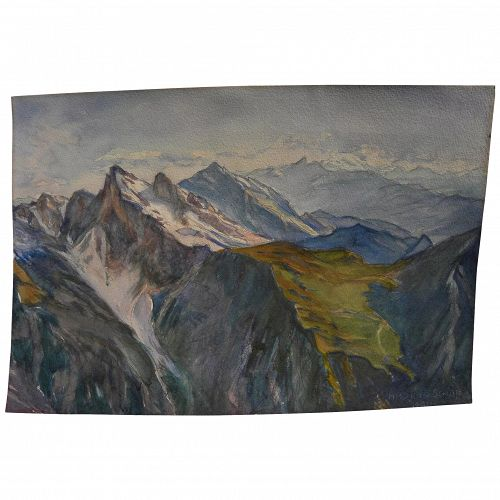 HELMUTH SCHOTT 1924 signed Austrian watercolor painting of alpine landscape