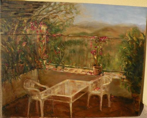 Contemporary American impressionist painting of  lovely terrace overlooking landscape