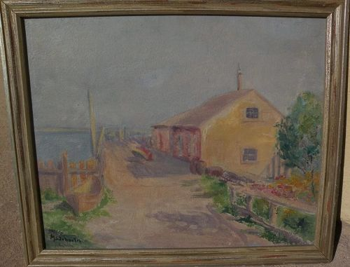 American impressionist painting of building by the shore signed by likely listed artist