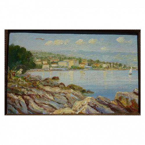 Vintage European impressionist coast painting