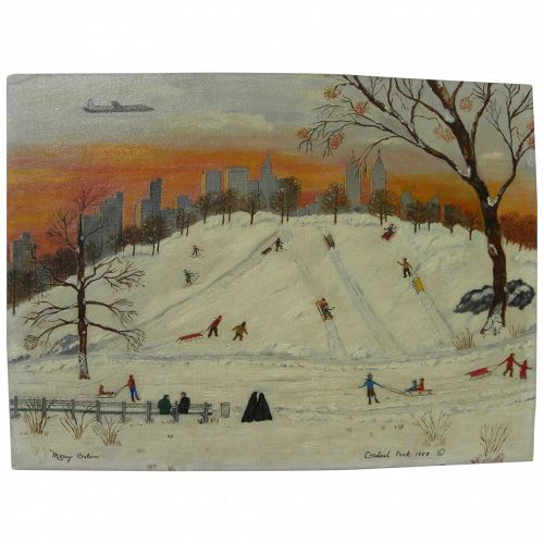 MARY ORKIN (1894-1987) naive style painting of children sledding in Central Park dated 1958
