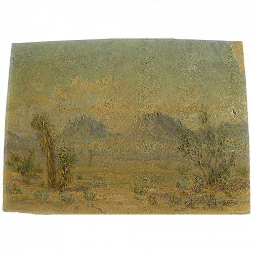 Old Southwest desert impressionist landscape painting signed M. Edwards