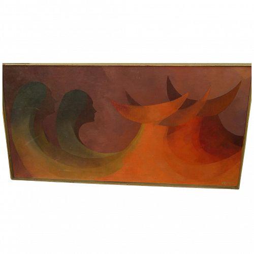 "JORGE EDGARDO RAMIREZ (1940-) Mexican modern art 1963 oil on canvas painting ""Ofrenda"""