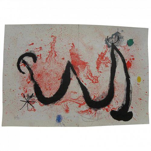 "JOAN MIRO (1893-1983) Spanish modern art original pencil signed numbered 1963 lithograph print ""La Danse de Feu"""