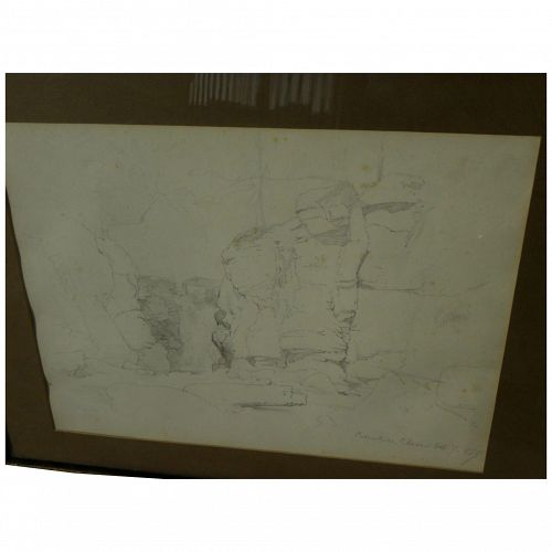 Hudson River School American 1859 pencil drawing of noted Catskill rocky gorge