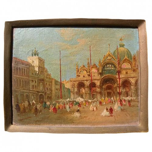 THREE Italian circa 1946 paintings in classical 18th century style of Canaletto and Guardi
