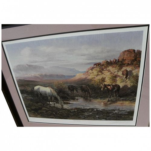 "OLAF WIEGHORST (1899-1988) pencil signed limited edition print ""Watering Hole"" by noted Western artist"