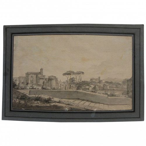Italian circa 1800 antique watercolor painting of Tuscan town