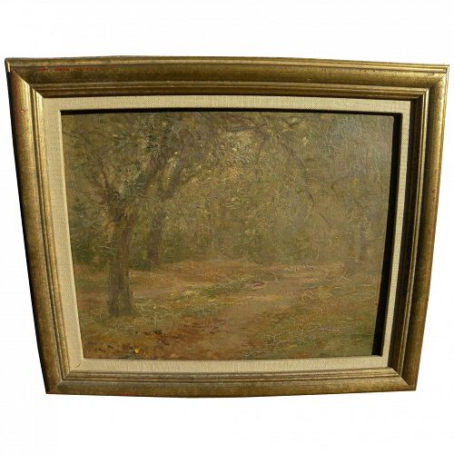 English 1908 small pretty impressionist landscape painting near Hampstead Heath