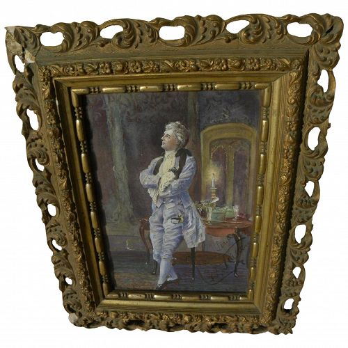 Signed late 19th century fine watercolor painting of 18th century elegant gentleman