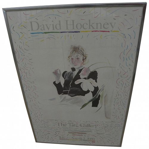 """DAVID HOCKNEY (1937-) original 1980 poster for Tate Gallery exhibition """"Travels with Pen, Pencil and Ink"""""""