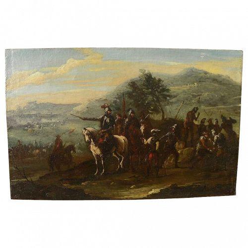 "Style of JACQUES COURTOIS (""Il Borgognone"", Italian-French, 1621-1676) battle scene old master painting"