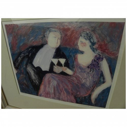BARBARA A. WOOD (20th century California) contemporary pencil signed print of a couple at cocktail time