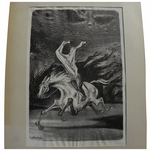 """WILLIAM GROPPER (1897-1977) noted American artist pencil signed 1953 lithograph """"Headless Horseman"""""""