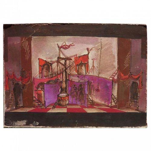 Original stage design drawing possibly by Eugene Berman (1899-1972)