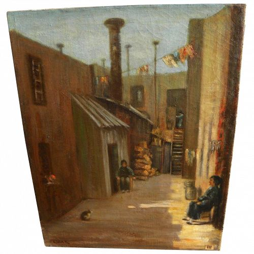 BERTHA TOWNSEND COLER (1865-1948) historically significant Chinatown painting by listed California woman artist