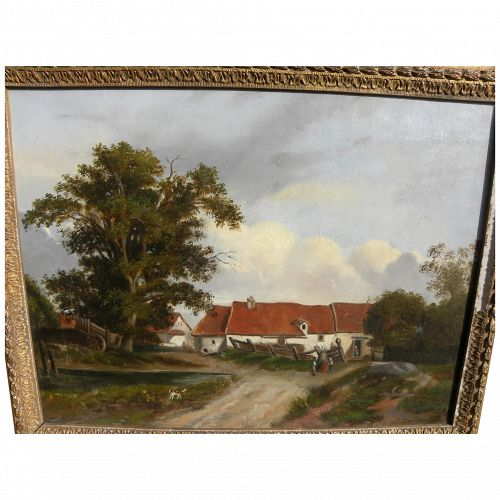 Italian 19th century painting of rural homestead with figures signed G ZANNONI (possibly by listed artist 1849-1903)