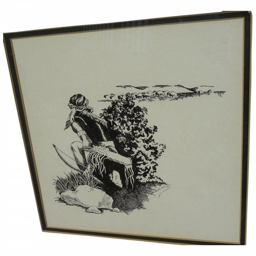 Vintage ink drawing of Native American Indian hunting bison signed Schilling