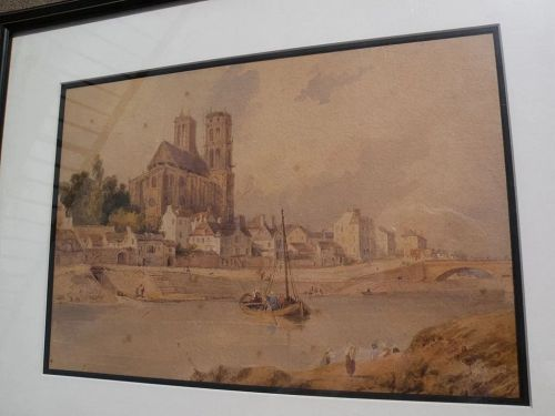 Antique European 19th century watercolor painting of cathedral and river at Mantes, France