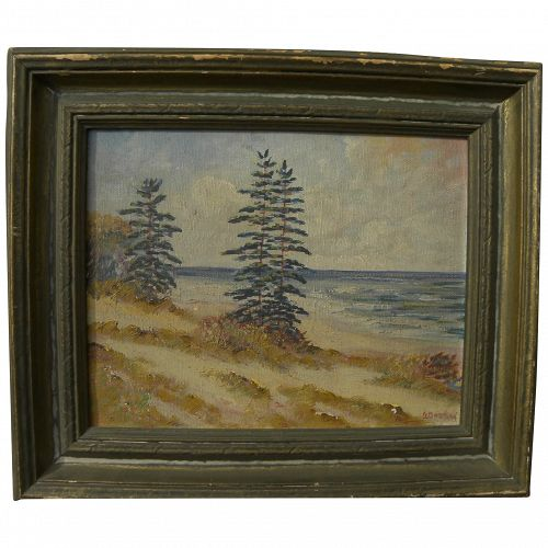 GLENN BASTIAN (1890-1966) Indiana art small painting Lake Michigan sand dunes