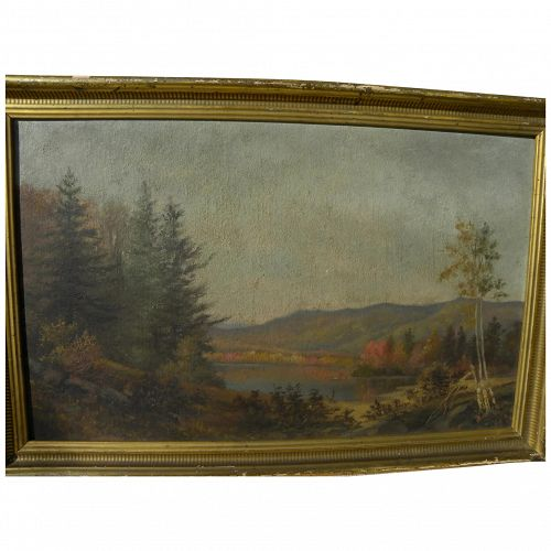 American late 19th century autumn mountains landscape painting