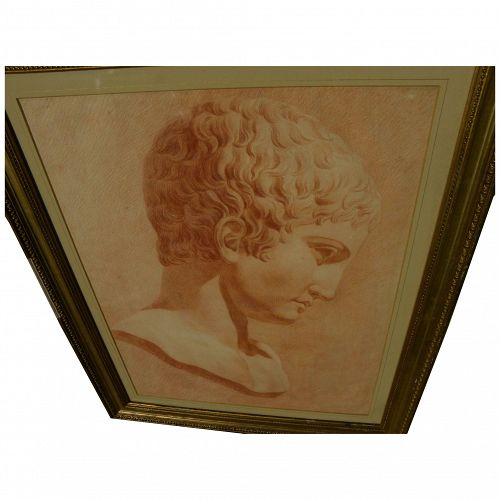 Old Master antique academic red chalk drawing of a classical male bust
