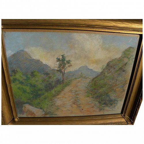 MAXIM SEIBOLD circa 1920 pastel drawing of mountain landscape by Swiss-born artist