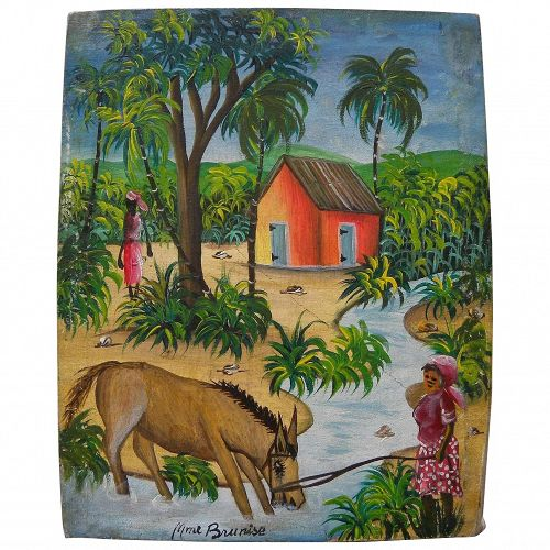 Haitian art colorful naive painting of women in tropical village