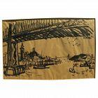 DONG KINGMAN (1911-2000) ink drawing of San Francisco bridges by important California watercolor artist