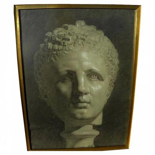 RUDOLF ZELENKA (1875-1938) academic 1894 study drawing of a classical head by Austrian artist