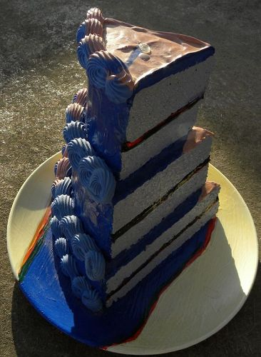 Colette Peters ceramic birthday cake style of Wayne Thiebaud