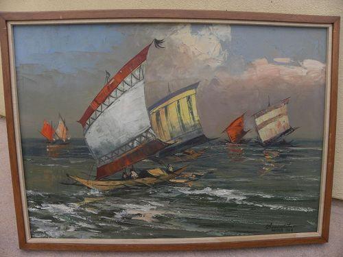 CESAR BUENAVENTURA (1922-1983) Filipino art vintage boats painting