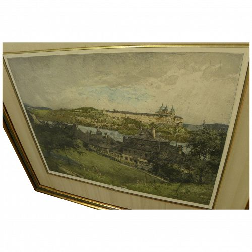 LUIGI KASIMIR (1881-1962) posthumously printed colored etching of Melk Abbey in Austria by noted printmaker