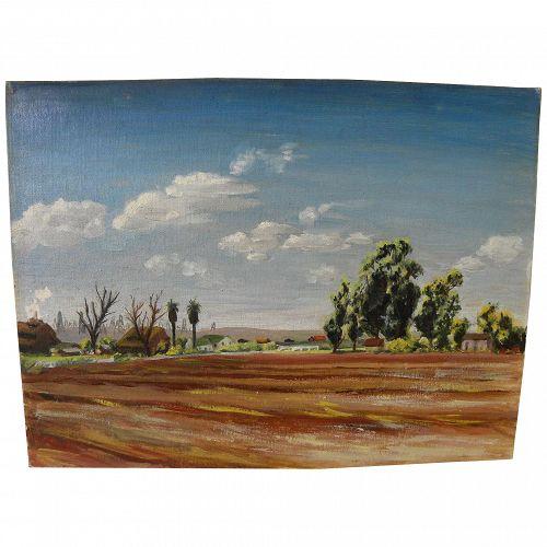 ELNA K. PETTUS (1918-2003) circa 1950's oil painting California Regionalism landscape with distant oil derricks