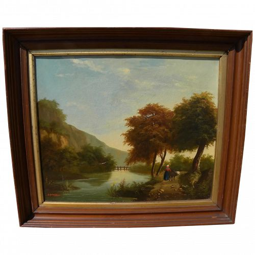 Mid 19th century French signed landscape painting dated 1852