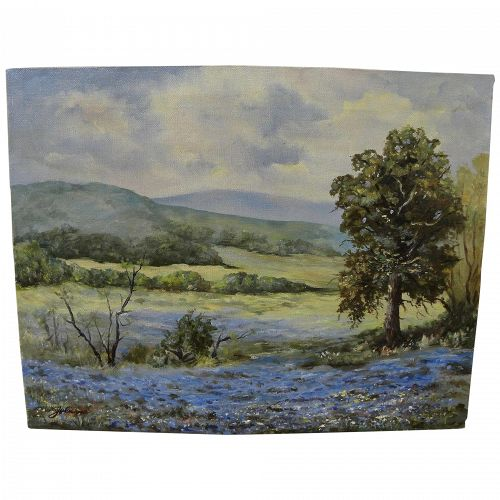 Contemporary Texas bluebonnet impressionist landscape painting signed Julienne