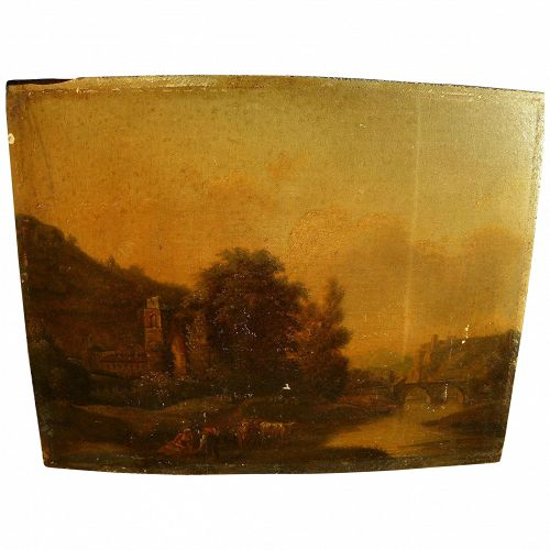 Old Master antique European landscape painting on oak wood panel