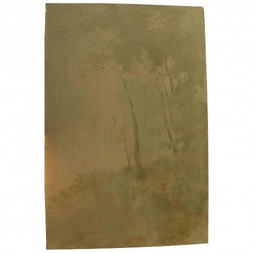 YAMADA BASKE (1869-1934) beautiful impressionist watercolor landscape painting by Japanese-American artist