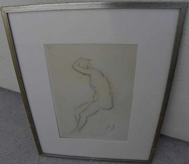 Signed charcoal drawing of female nude