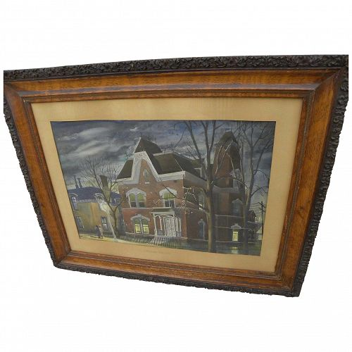 JOHN W. ATTERBURY watercolor with Hopperesque qualities by 20th century Rochester New York artist