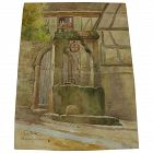 AMELIE FOLEY-RISLER (1870-1947) listed French artist watercolor painting of a well and half-timbered house in Alsace