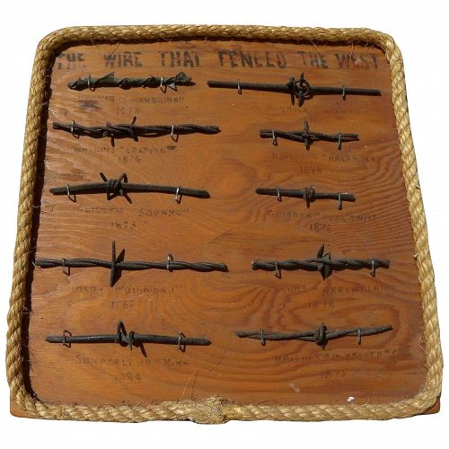 Western American artifacts mounted barbed wire samples dating from 1870's