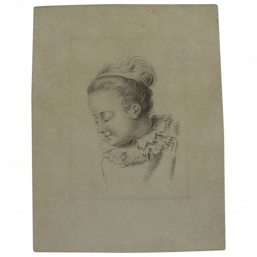 Old Master pencil drawing of a young woman
