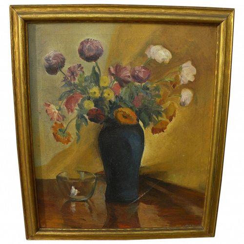 Vintage American impressionist floral still life painting signed
