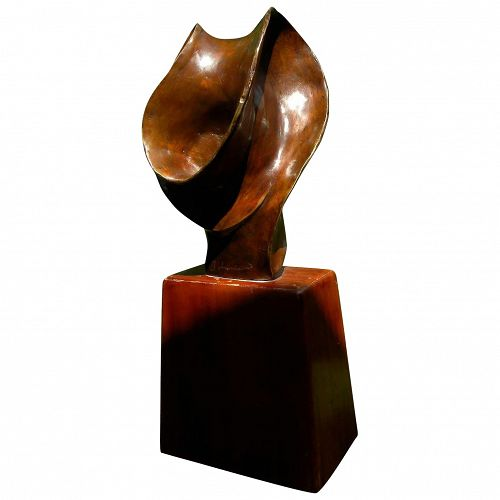 Modern quality vintage bronze sculpture on wood base