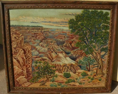 Southwest art Grand Canyon Arizona painting by naive hand with interesting folky frame