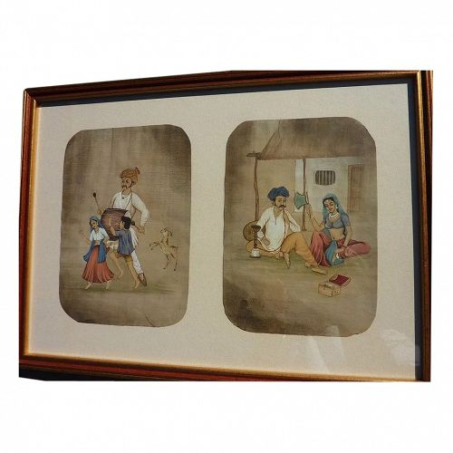 Indian traditional art framed ink and watercolor drawings