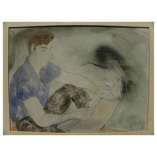 BURR SINGER (1912-1992) California watercolor painting by well listed California social realist artist