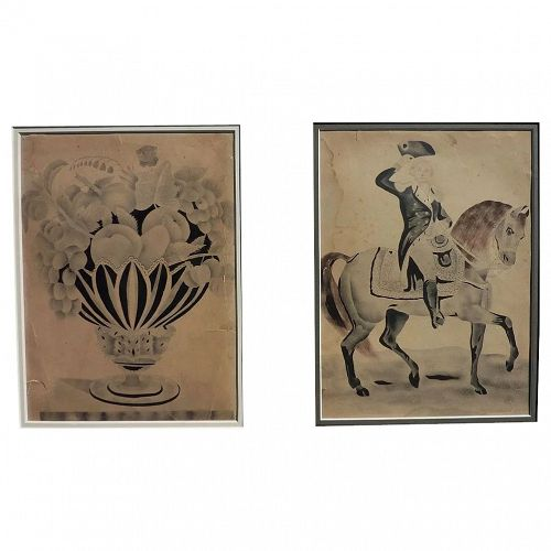 PAIR American folk art drawings with stencil, George Washington on horse and fruit compote