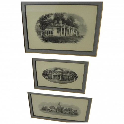 Three fine engravings of Mount Vernon, Monticello and Independence Hall framed together